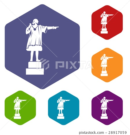 Columbus monument icons set 28917059