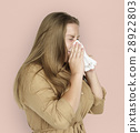Caucasian Woman Sneezing Crying Tissue 28922803