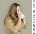 Caucasian Woman Sneezing Crying Tissue 28922826