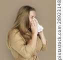 Caucasian Woman Sneezing Crying Tissue 28923148