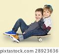 Little Kids Smiling Playing Sitting Skateboard 28923636