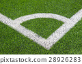 Football field corner with artificial grass 28926283