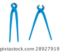 Blue pincers isolated on white background. 28927919