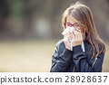 Girl with allergy symptom blowing nose.  28928637