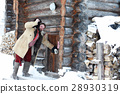 man in traditional costume of peasant medieval  28930319