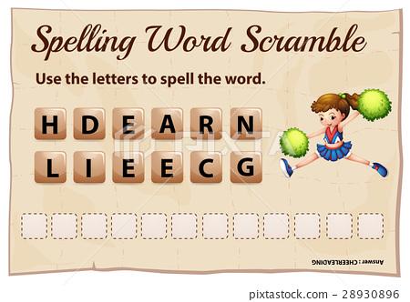 Spelling word scramble game with word cheerleading 28930896