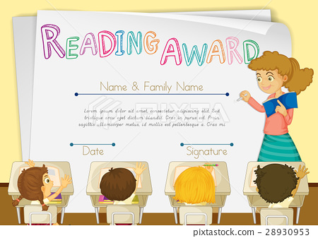 Certificate Template For Reading Award Students Stock Illustration