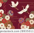 传统日本模式的菊花,起重机和手 28935011