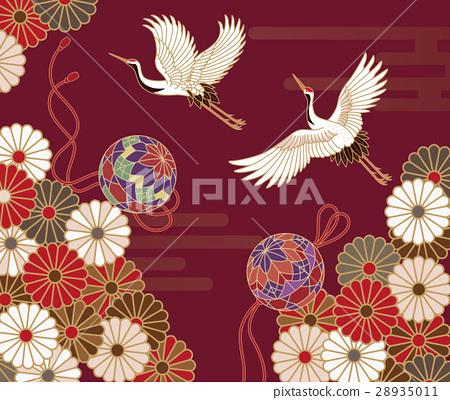 傳統日本模式的菊花,起重機和手 28935011