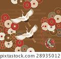 傳統日本模式的菊花和起重機,手gals 28935012