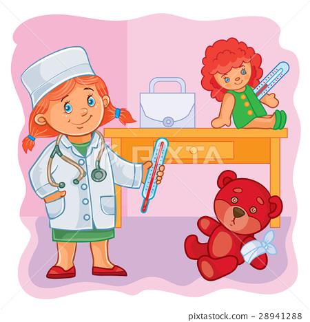 Little girl doctor treats their toys 28941288