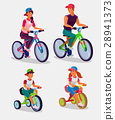 Set of illustration adults and children riding 28941373