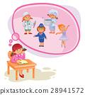 illustration of a little girl dreaming 28941572
