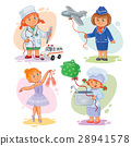 Set icons of small children different professions 28941578