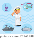 Little boy seaman with a warship, submarine and 28941588