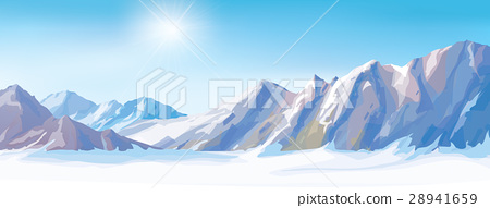 Vector snow mountains background. 28941659
