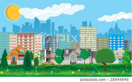 Private suburban houses with car 28944946