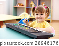 Girl with electronic piano and microphone 28946176