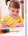Child play with paints in preschool 28946306