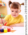 Child play with paints in preschool 28946308
