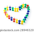 Heart shape made of color thumbtacks 28946320