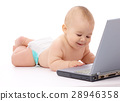 Little baby with laptop 28946358