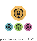 Plug icon with shadow on colored circles 28947210