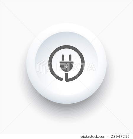 Plug icon on a white simple button 28947213