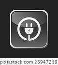 Plug icon on grey square button 28947219