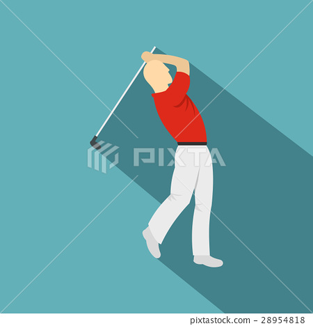 Golf player in a red shirt icon, flat style 28954818