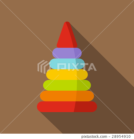 Colorful toy pyramid icon, flat style 28954910