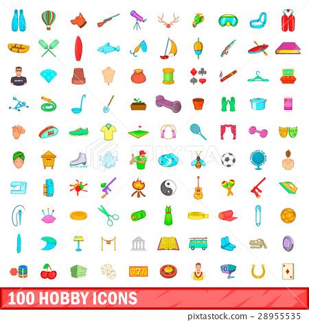 100 hobby icons set, cartoon style 28955535