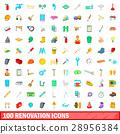 100 renovation icons set, cartoon style 28956384