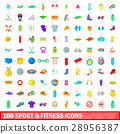 100 sport and fitness icons set, cartoon style 28956387