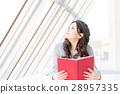 젊은 여성, 대학생, 독서, 약속 28957335
