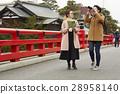 外国妇女和日本妇女观光的老街道 28958140