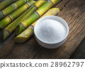 Bowl of white sugar with sugar cane on wood . 28962797