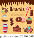 Desserts waffle and cakes vector poster 28964040