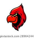 Cardinal red bird head vector icon 28964244