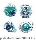 Fishing sport club or trip vector icons set 28964312