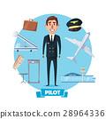 Pilot profession man and vector flight items 28964336