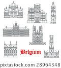 Architecture buildings of Belguim vector icons 28964348