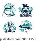 Fishing club or trip vector icons set 28964353