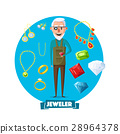 Jeweler man profession and jewelry vector items 28964378