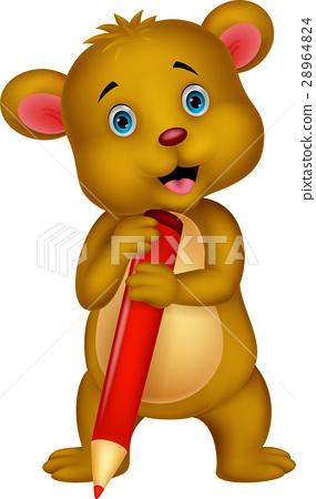 Cute brown bear cartoon holding red pencil 28964824