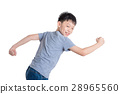 Young asian boy running over white background 28965560