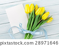 Easter greeting card with yellow tulips 28971646