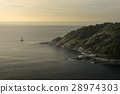 Enjoy sailing yacht in bay surrounded by hills  28974303