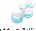 Many blue triangle cosmetic jar on white backgroun 28974970