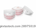 Two pink triangle cosmetic jar on white background 28975019
